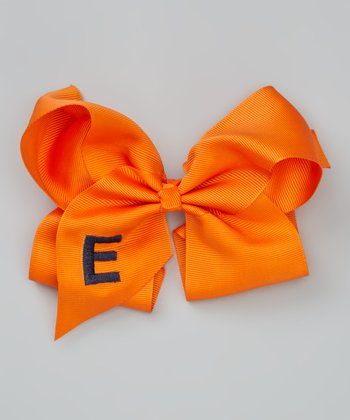 Orange Initial Bow Clip