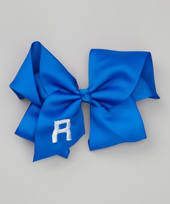Royal Blue Initial Bow Clip