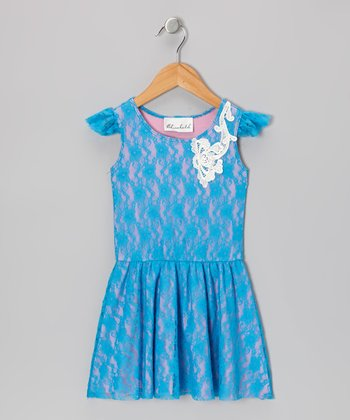 Blue & Pink Lace Dress - Toddler & Girls