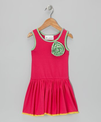Hot Pink Flower Twirl Dress - Toddler & Girls
