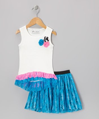 White Ruffle Tank & Turquoise Lace Skirt - Toddler & Girls