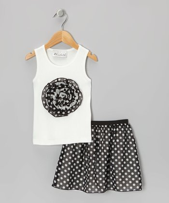 White Rosette Tank & Black Polka Dot Skirt - Toddler & Girls