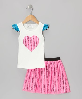 White Heart Tank & Neon Pink Lace Skirt - Toddler & Girls