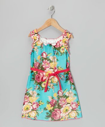 Aqua Floral Dress - Toddler & Girls