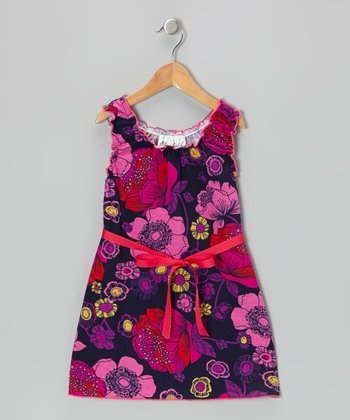 Navy & Hot Pink Floral Dress - Toddler & Girls