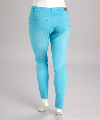 Sky Blue Plus-Size Pants