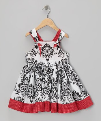 Black Damask Knot A-Line Dress - Toddler & Girls