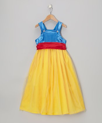 Blue & Yellow Princess A-Line Dress - Toddler