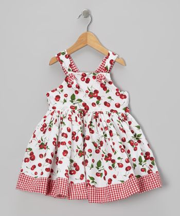 White Cherry Knot A-Line Dress - Toddler & Girls