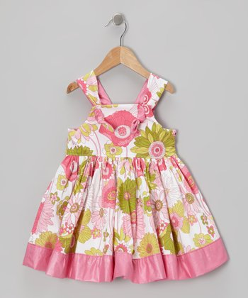 Pink & Green Floral Knot A-Line Dress - Toddler & Girls