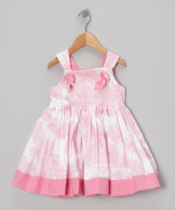 Pink Floral Knot A-Line Dress - Toddler & Girls