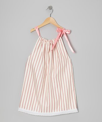 Mauve & Cream Stripe Swing Dress - Toddler & Girls