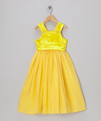 Yellow PrincessA-Line Dress - Toddler & Girls