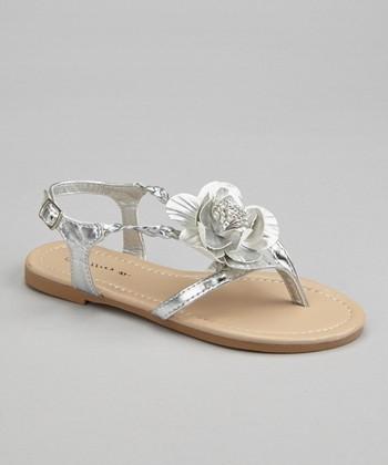 Silver Blossom Braid Sandal