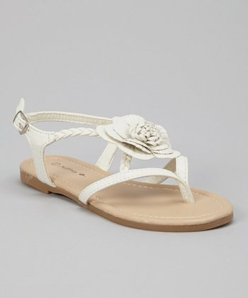 White Blossom Braid Sandal