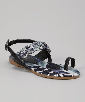 Black Braid Toe Ring Sandal