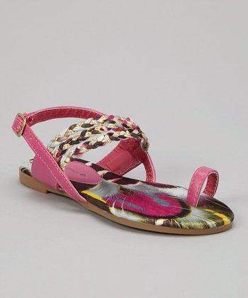 Fuchsia Braid Toe Ring Sandal