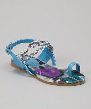 Turquoise Braid Toe Ring Sandal