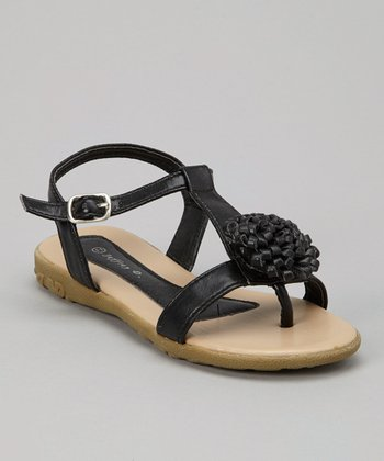 Black Bloom T-Strap Sandal - Kids
