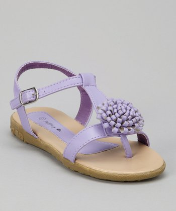 Purple Bloom T-Strap Sandal