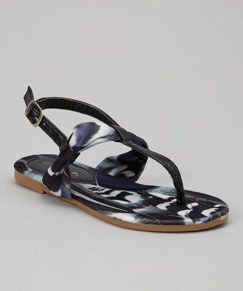 Black Feather Sandal