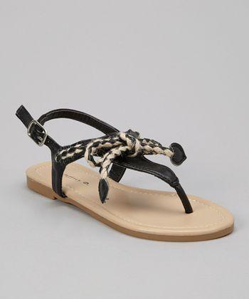 Black Braided Bow Sandal