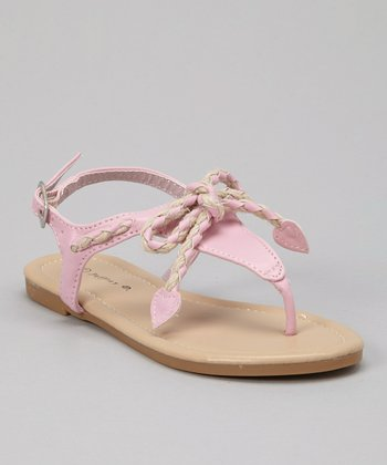 Pink Braided Bow Sandal