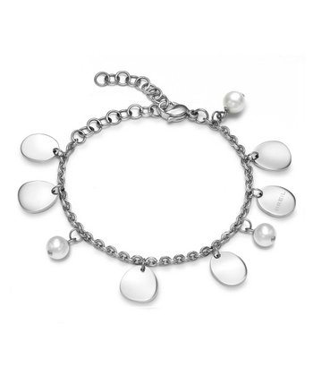 Silver & White Pearl Bloom Sphere Bracelet