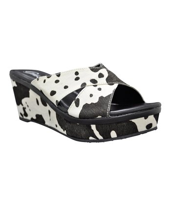 Black Haircalf Sangre Wedge Sandal
