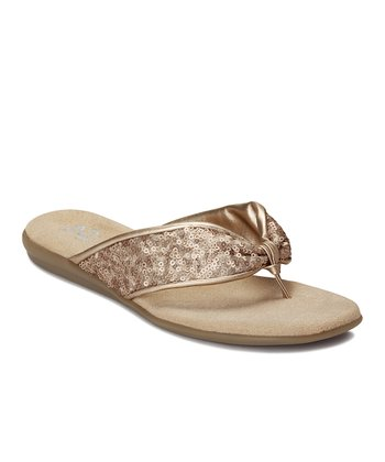 Soft Gold Sequin Chlamorous Thong Sandal