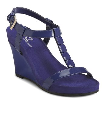 Dark Blue Patent Rose Plush Wedge Sandal