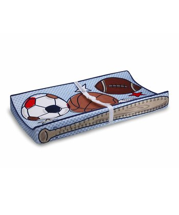 Blue & Brown Sports Changing Pad Cover