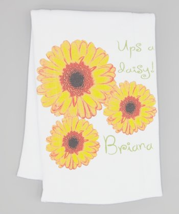 White 'Ups a Daisy!' Personalized Burp Cloth