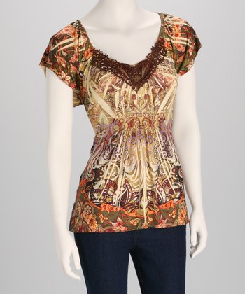 Flaxen Sublimation Crocheted V-Neck Top - Women
