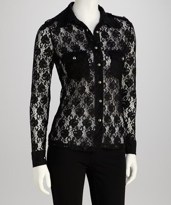 Black Lace Button-Up