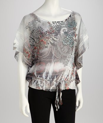 Gray Tie-Dye Sublimation V-Neck Top