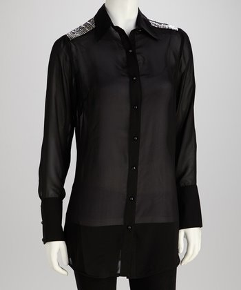Black Embellished Button-Up