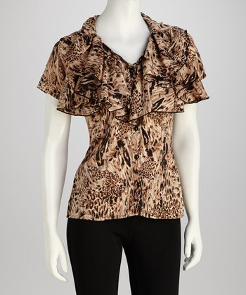 Brown Jungle Ruffle V-Neck Top