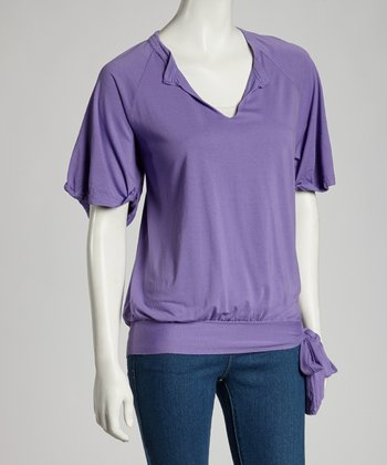 Grape Leslie Cuffed Tie Short-Sleeve Top