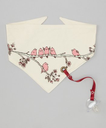 Cream Birds of a Feather Organic Bandanna Bib
