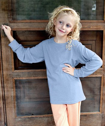 Chambray Blue Long-Sleeve Tee - Kids