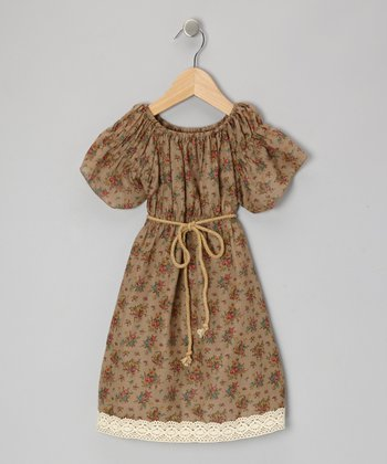 Tan floral lace peasant dress