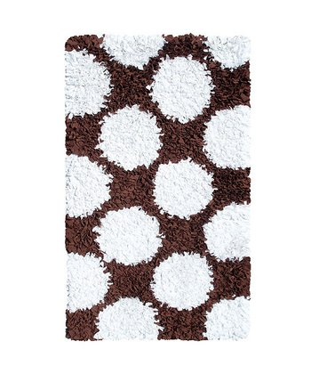 Chocolate & White Polkamania Shag Rug