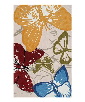 Red & Blue Monarch Butterfly Indoor/Outdoor Rug