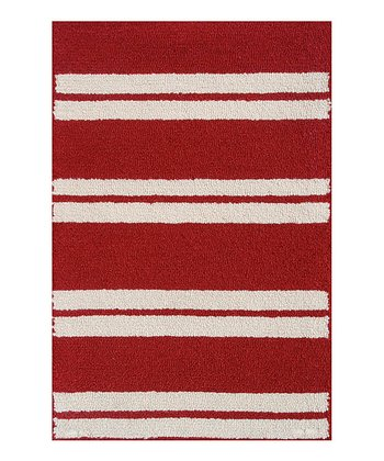 Red & Beige Spindle Stripe Indoor/Outdoor Rug
