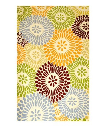 Cream & Green Asheville Indoor/Outdoor Rug