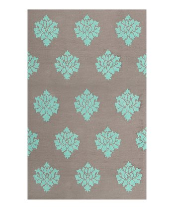 Gray & Aqua Aurora Indoor/Outdoor Rug