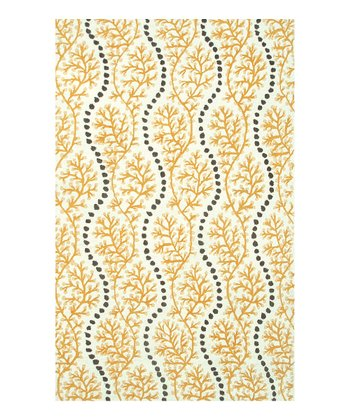 Yellow & Gray Coral Cascade Indoor/Outdoor Rug
