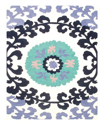 Blue & Purple Suzani Indoor/Outdoor Rug