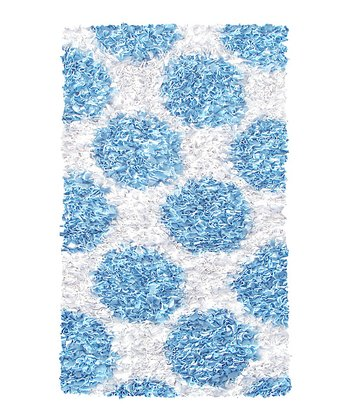 Blue & White Polkamania Shag Rug